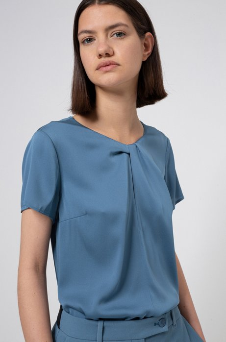 Relaxed-fit top in stretch silk with twisted neckline, Dark Blue