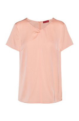 Relaxed-fit top in stretch silk with twisted neckline, Light Red