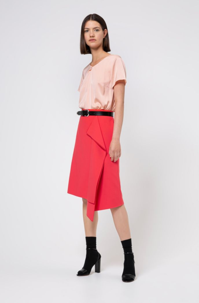 Relaxed-fit top in stretch silk with twisted neckline