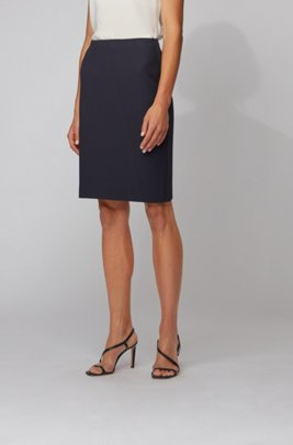 Pencil skirt in textured jersey, Dark Blue