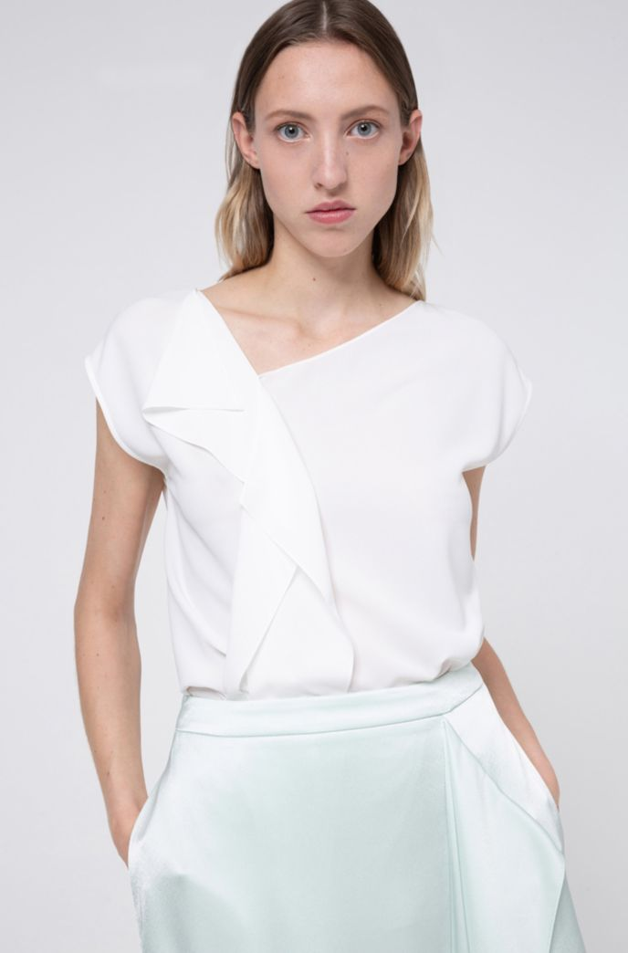Relaxed-fit top in crinkle crepe with draped detail