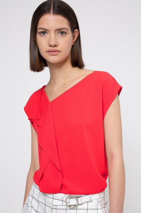Relaxed-fit top in crinkle crêpe met gedrapeerd detail, Rood