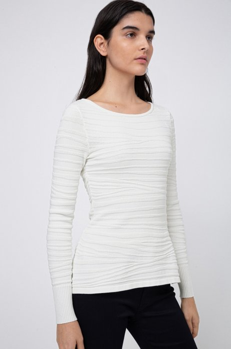 Slim-fit knitted top with zebra structure, White