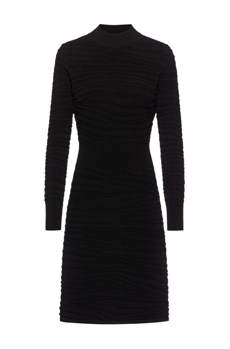 Super-stretch knitted dress with zebra structure, Black