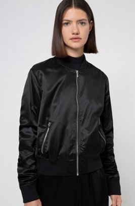 Lustrous bomber jacket in recycled fabric with handwritten logos, Black