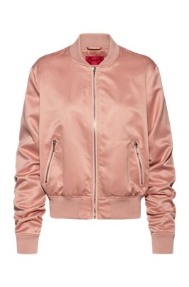 Lustrous bomber jacket in recycled fabric with handwritten logos, Pink