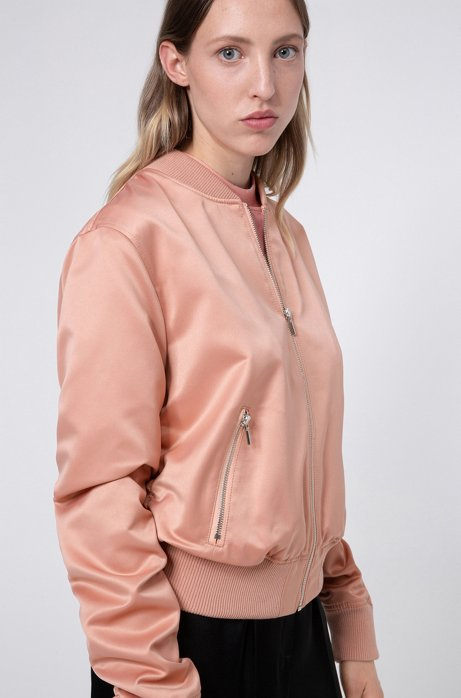 Lustrous bomber jacket in recycled fabric with handwritten logos, Light Red