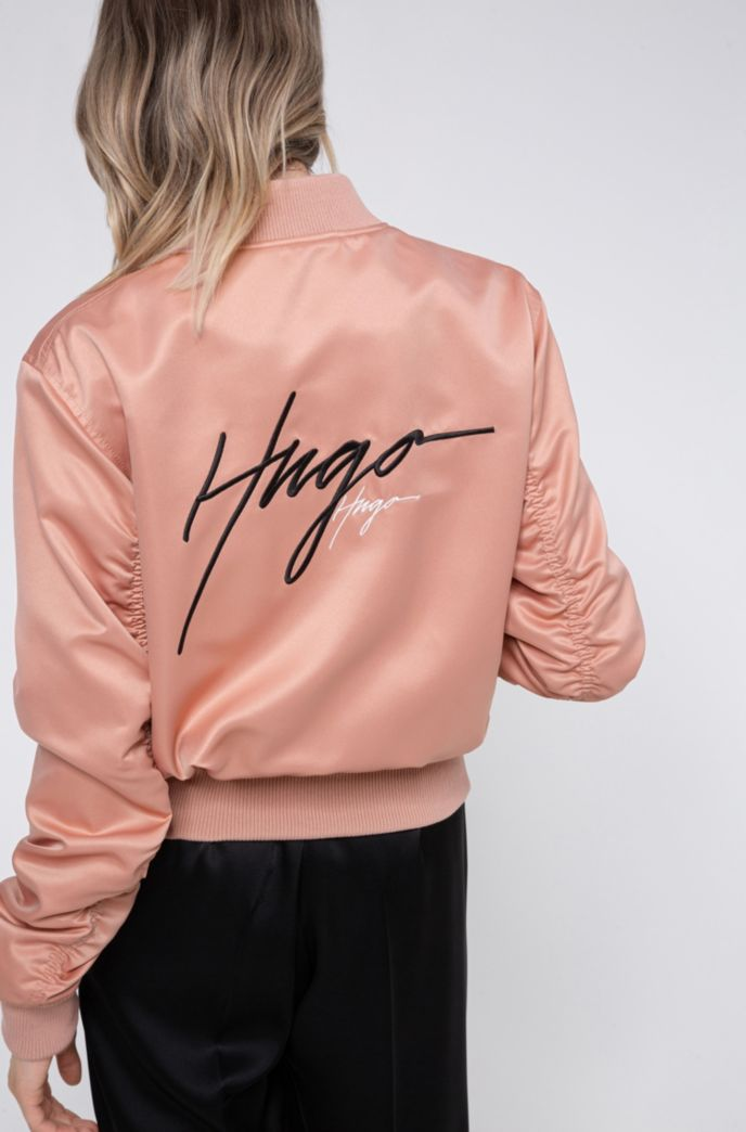 Lustrous bomber jacket in recycled fabric with handwritten logos