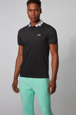 Polo slim fit con S.Café® e colletto con logo, Nero
