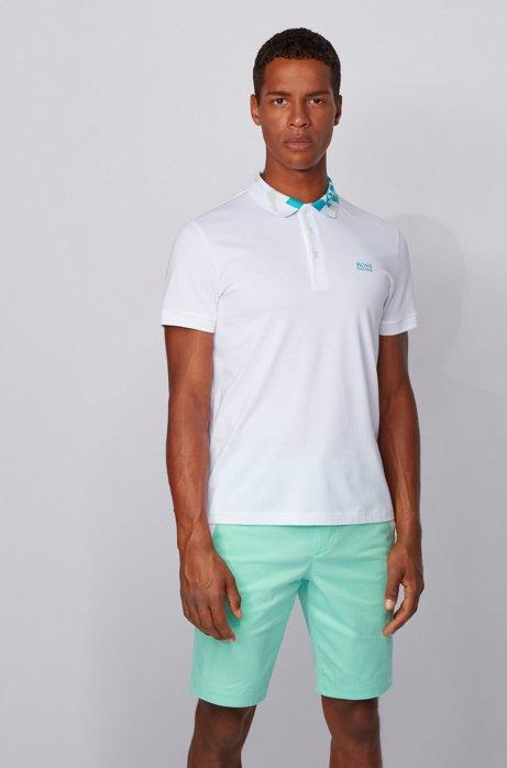 Polo slim fit con S.Café® e colletto con logo, Bianco