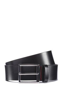 Italian-leather belt with logo-embossed tip, Black