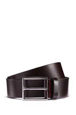 Italian-leather belt with logo-embossed tip, Dark Brown