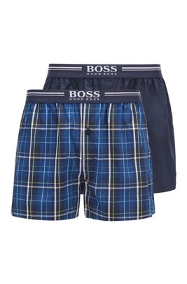 Two-pack of cotton pyjama shorts with logo waistbands, Dark Blue