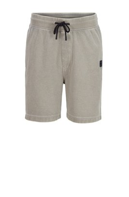 Drawstring shorts in ottoman-structured cotton, Grey
