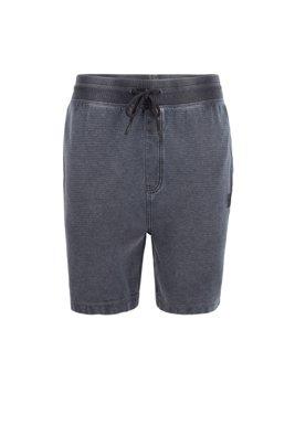 Regular-Fit Shorts aus Baumwolle mit Ottoman-Struktur und Tunnelzug, Dunkelblau