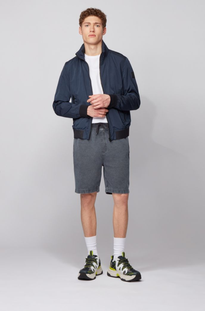 Drawstring shorts in ottoman-structured cotton