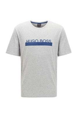 Pyjama-T-Shirt aus Stretch-Baumwolle mit hitzeversiegeltem Logo, Hellgrau