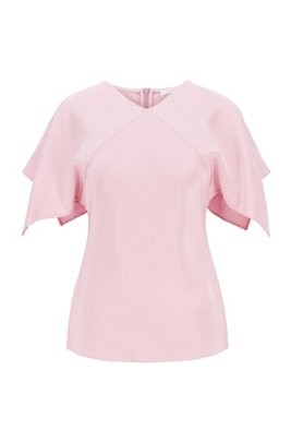 V-neck top in pure silk with flared sleeves, ライトパープル