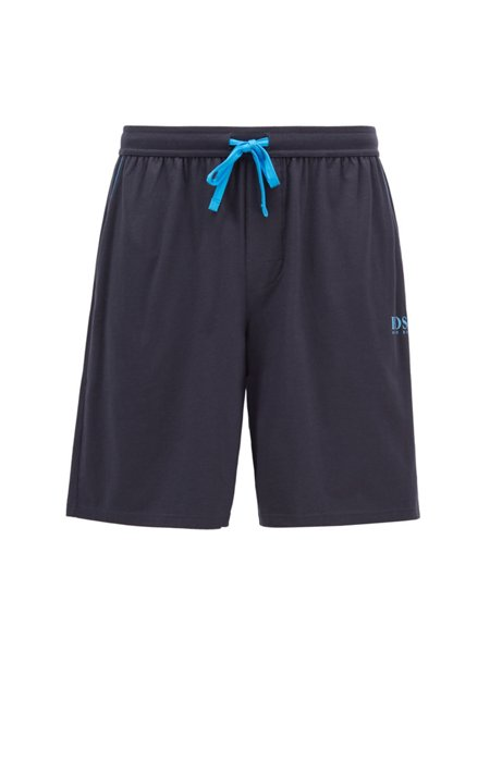 Pyjama-Shorts aus Stretch-Baumwolle mit Modal und hitzeversiegeltem Logo, Hellblau