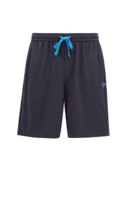 Bermuda del pigiama in misto cotone con logo termosaldato, Celeste