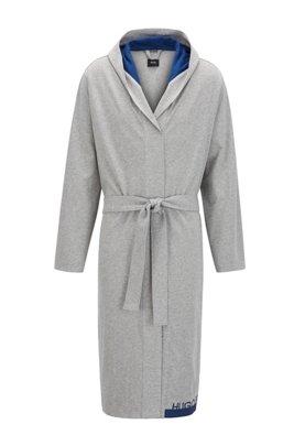 Logo dressing gown in heavyweight melange cotton, Light Grey