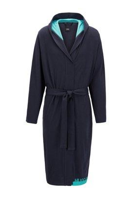 Logo dressing gown in heavyweight melange cotton, Light Blue