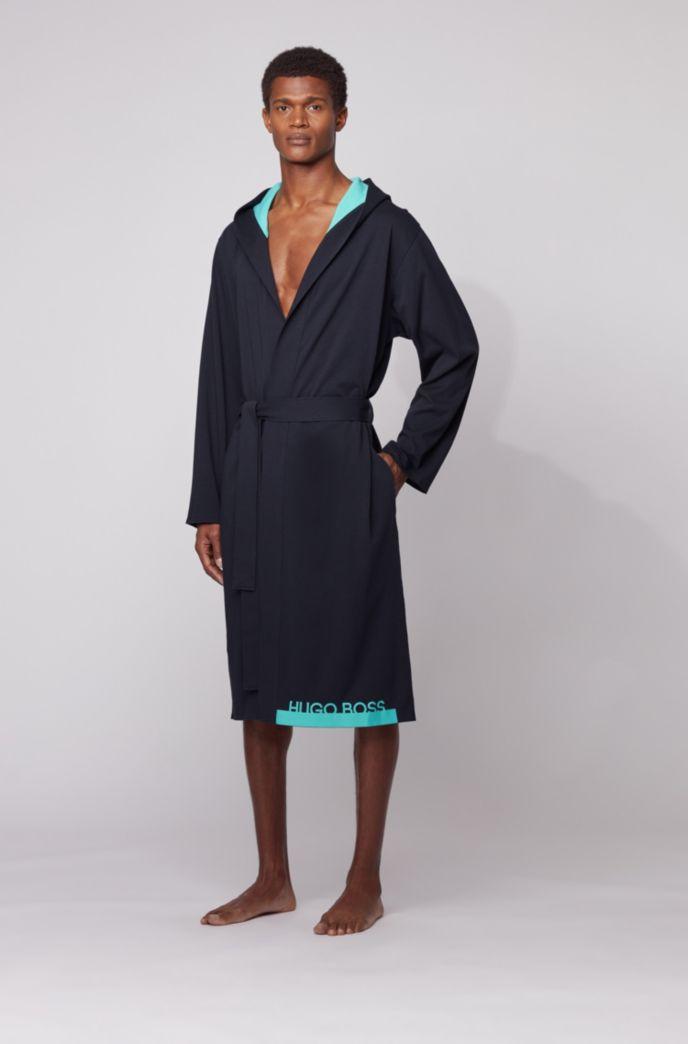 Logo dressing gown in heavyweight melange cotton