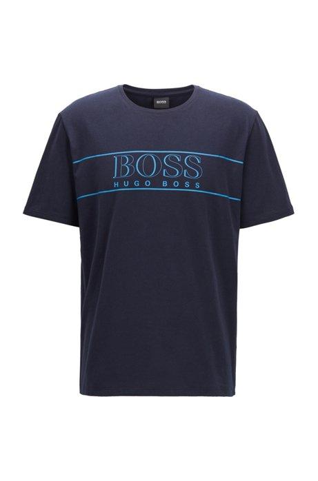 T-shirt del pigiama in cotone elasticizzato con profilo del logo stampato, Celeste