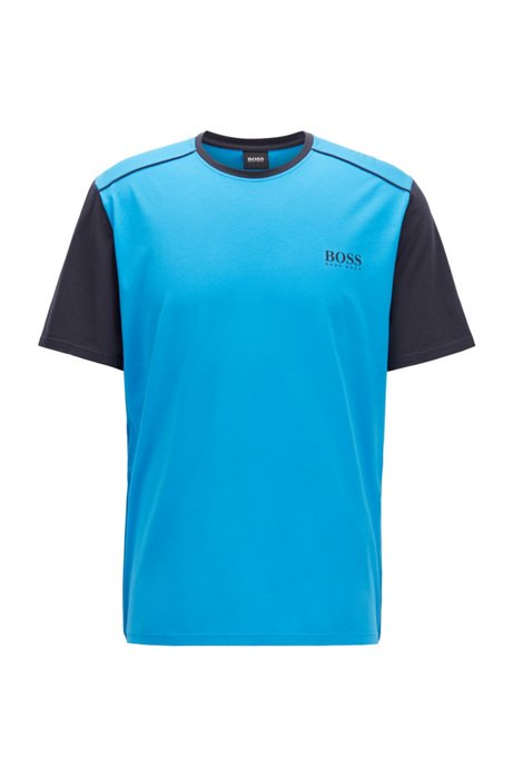 Pyjama-T-Shirt aus Stretch-Gewebe mit Colour-Block-Ärmeln, Blau