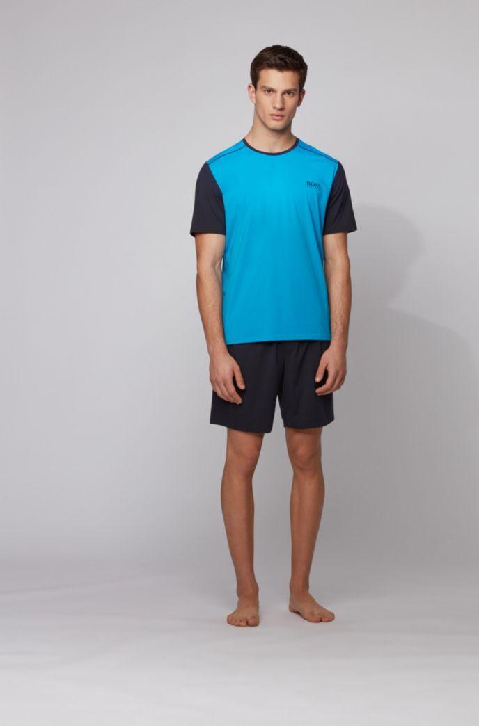 Pyjama-T-shirt van een katoenmix met colourblockmouwen