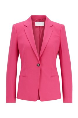 Veste Regular Fit en laine stretch traçable, Rose