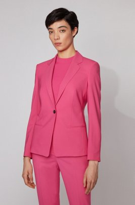 Regular-fit jacket in traceable wool with stretch, Pink