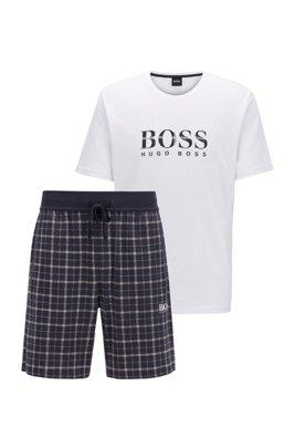Cotton pyjama set with checked shorts, Light Blue