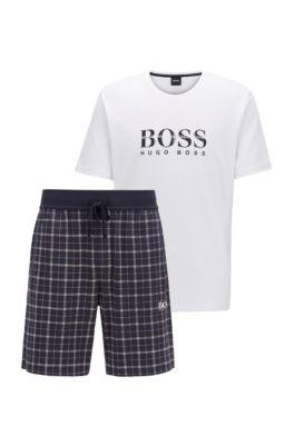 Pyjama aus Baumwolle mit karierter Shorts, Hellblau