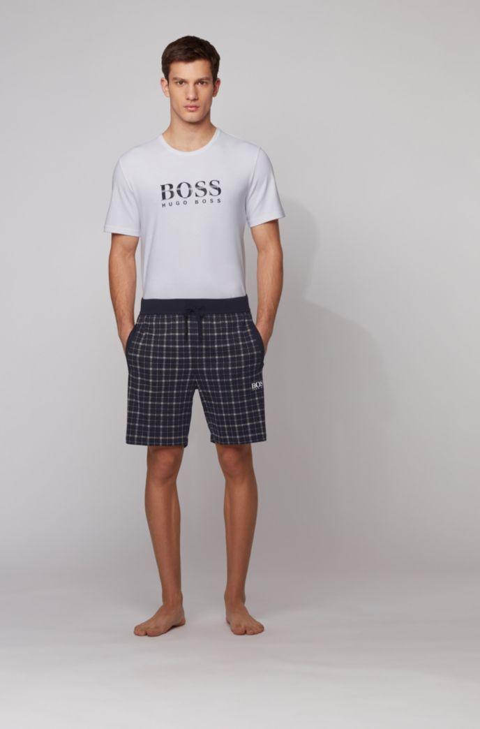 Cotton pyjama set with checked shorts