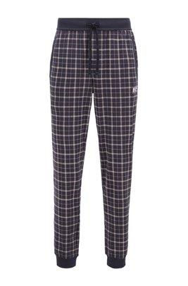 Pantalones de pijama con bajos elásticos de algodón interlock con estampado de cuadros, Celeste