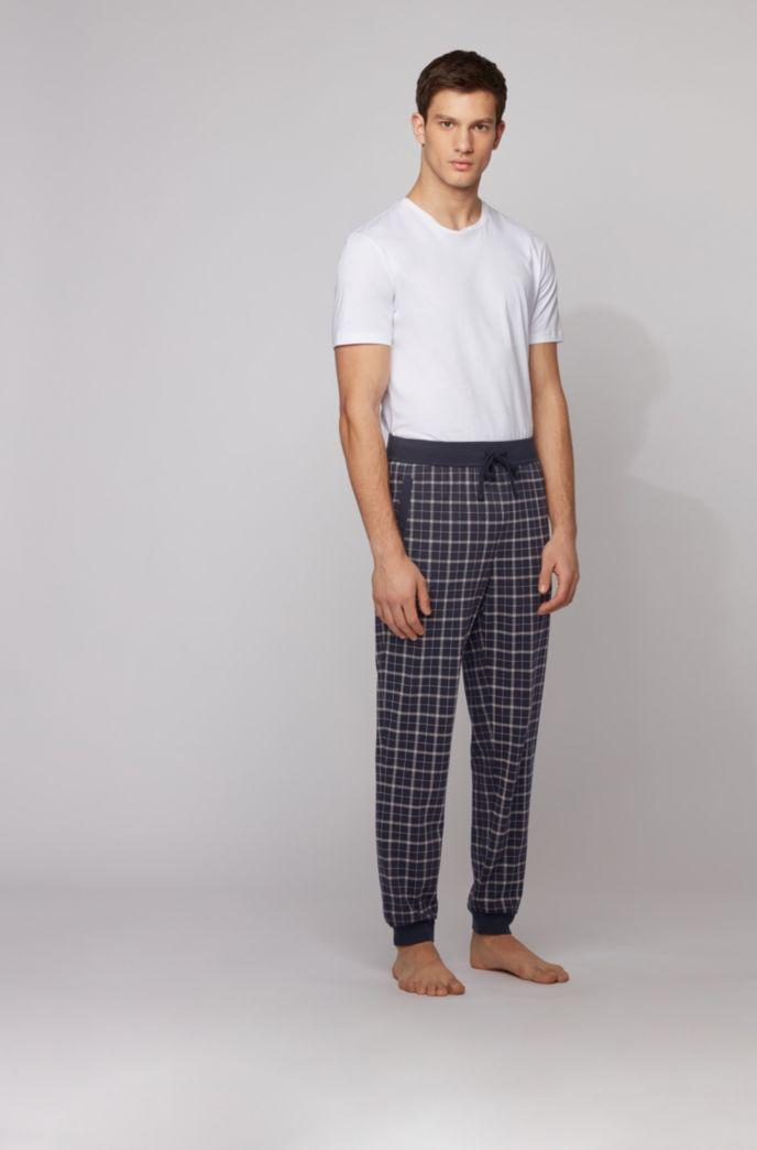 Pyjamabroek van interlocked katoen met beenboorden en ruitprint