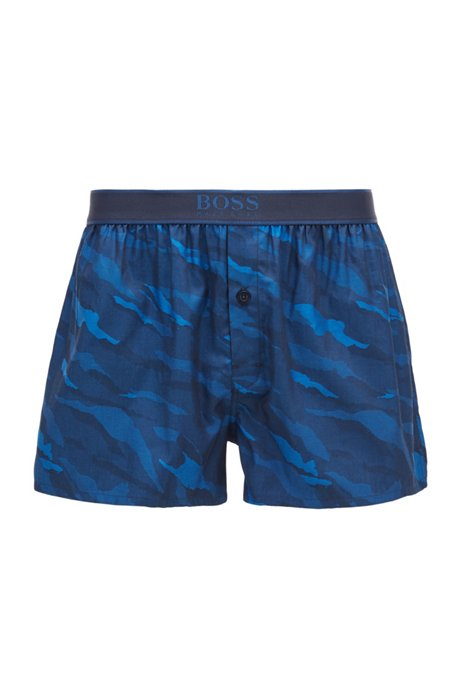 Slim-fit pyjama shorts with tiger-stripe pattern, Dark Blue