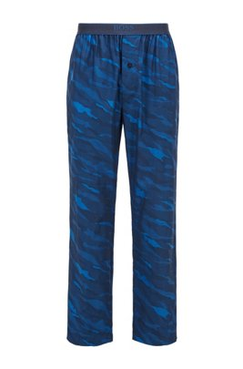 Button-fly pyjama trousers in abstract-animal patterned cotton, Dark Blue