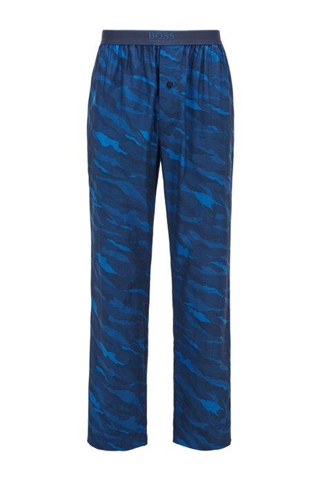 Pantaloni del pigiama con chiusura a bottoni in cotone con motivo animalier astratto, Blu scuro