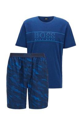 Pyjamaset van katoen met short in een jacquard met dierendessin, Blauw