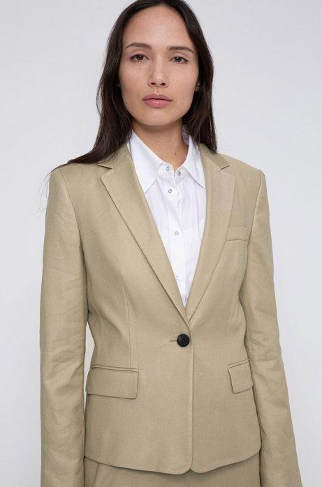Regular-fit korte blazer met splitboorden, Beige