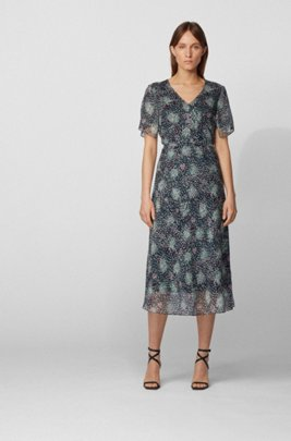 Kimono-sleeve midi dress in printed silk chiffon, Patterned