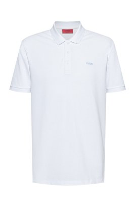 Polo shirt in cotton piqué with reverse-logo embroidery, White