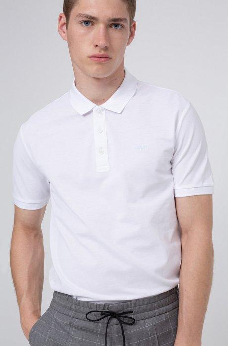 Polo in piqué di cotone con logo reversed ricamato, Bianco