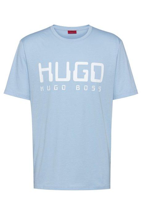 Cotton-jersey T-shirt with new-season logo print, Light Blue