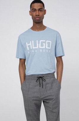 Cotton-jersey T-shirt with new-season logo print, Light Blue