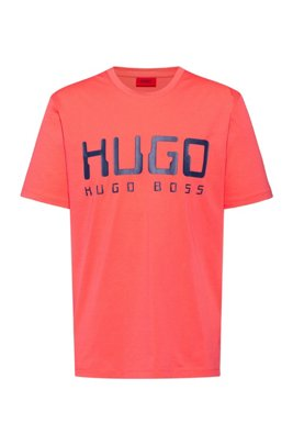 Cotton-jersey T-shirt with new-season logo print, Light Red