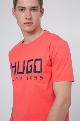 Cotton-jersey T-shirt with new-season logo print, Light Red