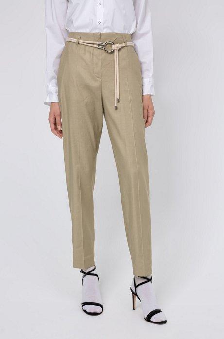 Pantaloni regular fit in twill con vita a sacchetto, Beige